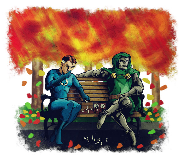 Doctor Doom & Reed Richards playing chess