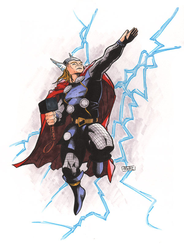 Thor Flying with Lightning