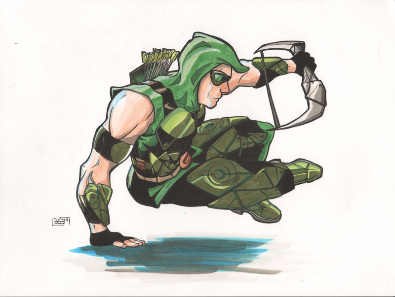 Green Arrow leaping over... something